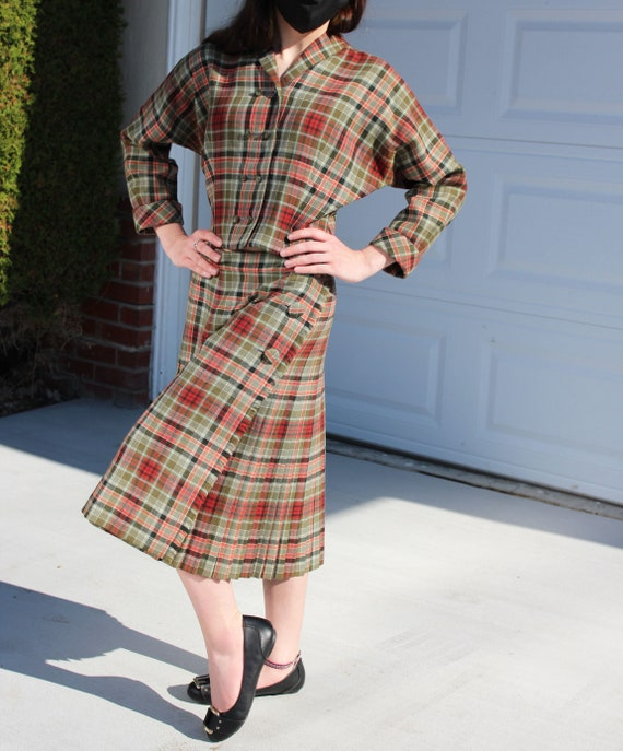 60's Aljean Canada Wool 2 Piece Skirt and Jacket S