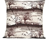 SALE 10.00 Halloween Pillow Cover Cushion Brown Crows Cats Cemetery Branches Moon Black Gray Beige Decorative 18x18