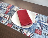 Nautical Table Runner Lighthouses Sailboats Flags Anchors Ship Wheels Seaboard Ahoy Fourth of July Red White Blue Reversible Coastal