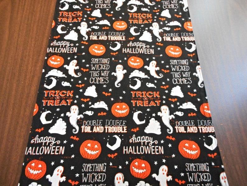 Ghosts Halloween Table Runner Pumpkins Trick or Treat Polka Dots Black Orange White Reversible Table Decor Halloween Decor