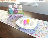 Christmas in July Sale Easter Eggs Table Runner Butterflies Floral White Pink Yellow Purple Green Blue Orange Reversible Buffet Easter Decor