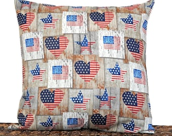 Primitive Patriotic Pillow Cover Cushion American Flag Hearts Rustic Stars Stripes Red White Blue Americana Fourth of July Decorative 18x18