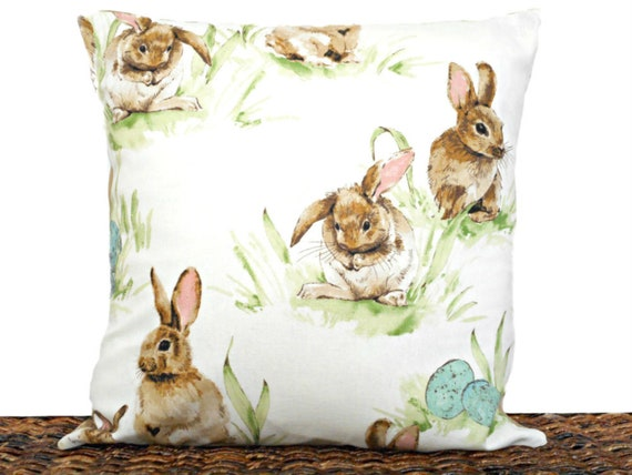 """14/""""16/"""" 18/"""" New Children Cushion Cover Taupe Pink Bunny Rabbits Print Handmade"""