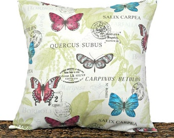 Botanical Butterflies Pillow Cover Cushion Fuchsia Turquoise Sage Green Gray Beige Script Decorative 18x18