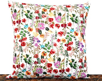 Floral Pillow Cover Cushion Red Pink Purple Coral Orange Green Turquoise Multicolored White Decorative Repurposed Mothers Day Summer 16x16