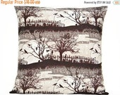 Christmas in July Sale Halloween Pillow Cover Cushion Brown Crows Cats Cemetery Branches Moon Black Gray Beige Decorative 18x18