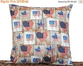 Christmas in July Sale Primitive Patriotic Pillow Cover Cushion American Flag Hearts Rustic Stars Stripes Red White Blue Americana Fourth of
