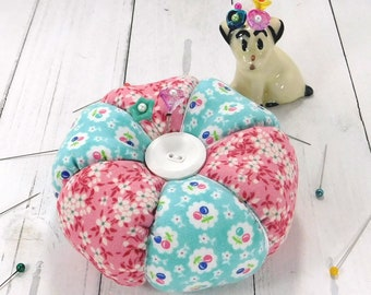 Pincushion, Cherry Blossoms Pincushion 1930's inspired Tomato Pincushion with Emery and decorative pins- Ready to Ship