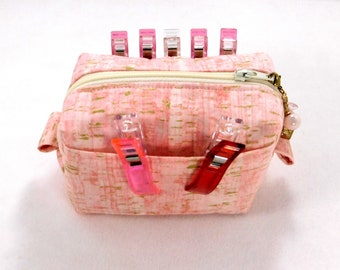 """Prety in Pink, """"Uncorked Fabric"""", Boxy Clip Container, Zippered Pouch, Quilt Clip Holder, Sold With or without Clips! Ready to Ship"""