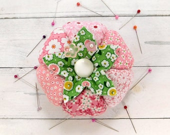 Pincushion Petal Pink 1930's Tomato Pincushion with Emery- Made to Order