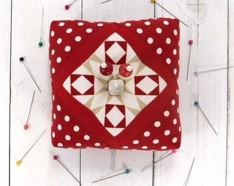 Classic Cube, Handmade Pincushion with Emery, 4 inches by 4 inches, Ready to Ship
