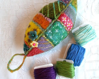 Embroidered Leaf Pincushion In hand dyed wool and wool roving. Handmade- Made to Order