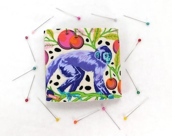 Needle Book, Tula Pink Monkey Wrench Needle Book with 2 pockets and 2 hand dyed Wool Pages, Ready to Ship