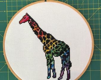 Rainbow Giraffe Cross Stitch Pattern