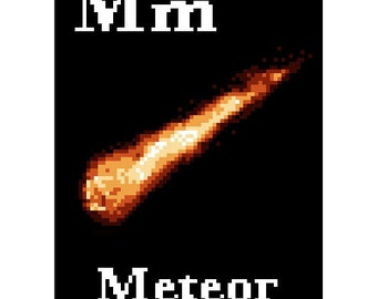 M is for Meteor Space Alphabet Cross Stitch Pattern