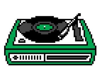 Retro Record Player Cross Stitch Pattern