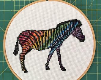 Rainbow Zebra Cross Stitch Pattern