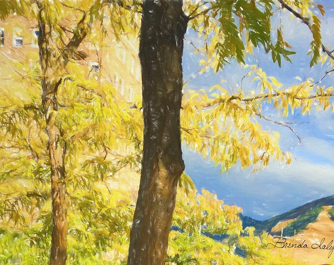 Mountains and Trees Giclee Print on Fine Art Paper Canvas or Wood by Brenda Salyers by Brenda Salyers