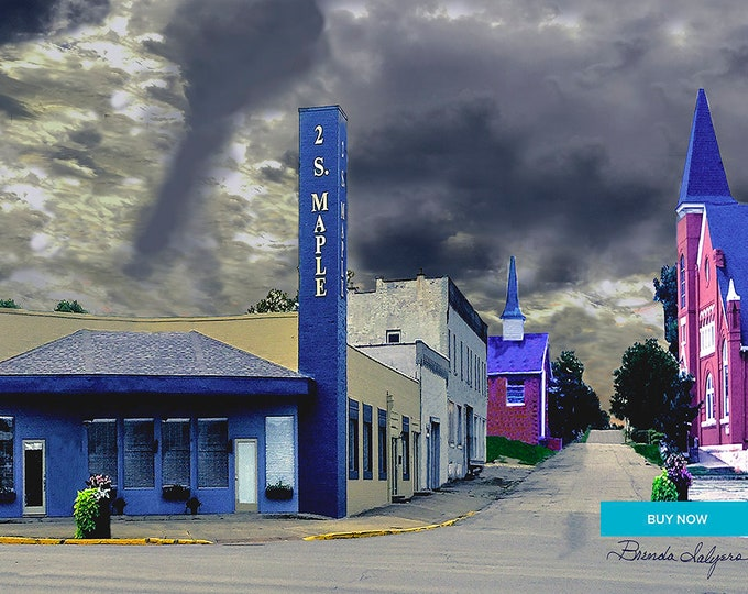 West Broadway Street Winchester Kentucky Fine Art Giclee Print on Paper Canvas or Wood by Brenda Salyers by Brenda Salyers