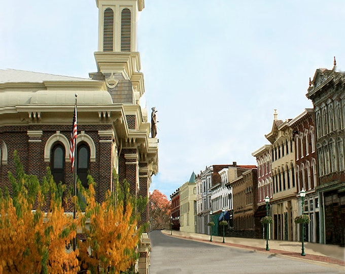 West Main St Georgetown Kentucky Fine Art Giclee Print on Paper Canvas or Wood by Brenda Salyers by Brenda Salyers