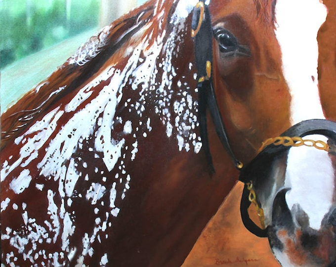 California Crome Bathing Kentucky Derby Winner Giclee Print on Fine Art Paper Canvas or Wood by Brenda Salyers by Brenda Salyers