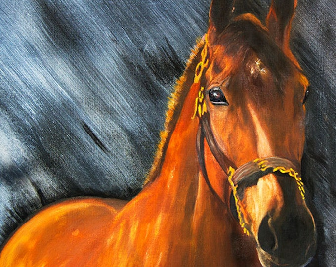 Americn Pharaoh Triple Crown Winner Giclee Print on Fine Art Paper Canvas or Wood by Brenda Salyers by Brenda Salyers