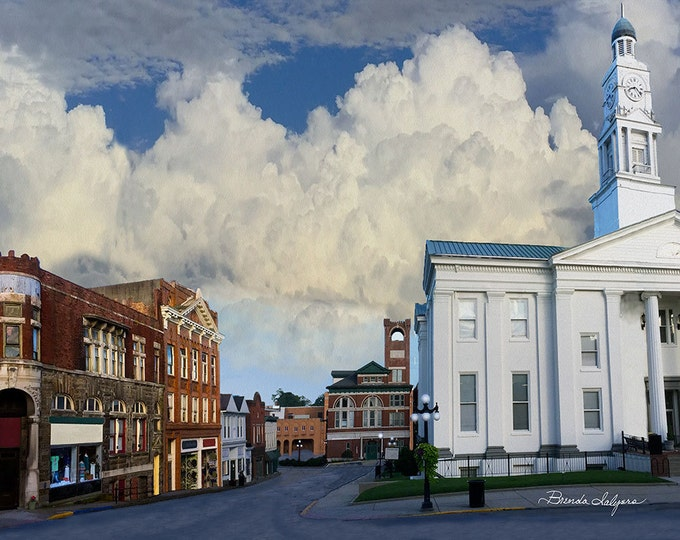 Court Street Winchester Kentucky Fine Art Print on Paper Canvas or Wood by Brenda Salyers by Brenda Salyers