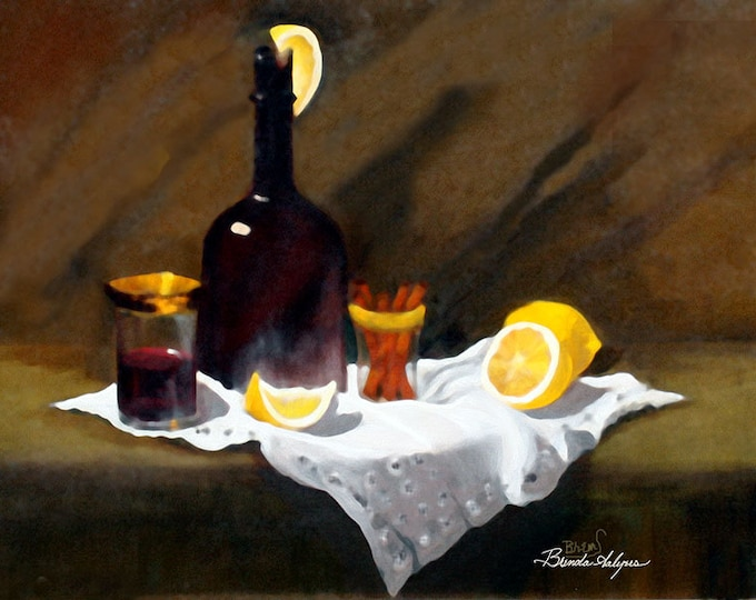 Wine in a Bottle Brenda Salyers Fine Art Giclee Print on Paper Canvas or Wood by Brenda Salyers by Brenda Salyers