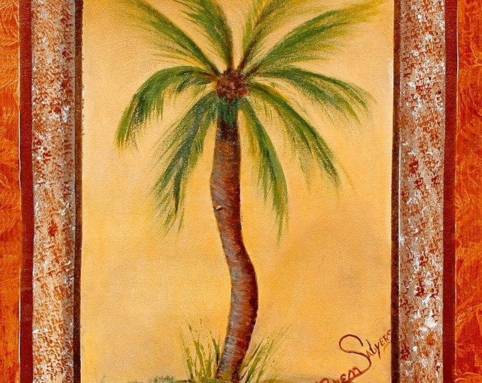 Palm Tree, Giclee Print on Fine Art Paper Canvas or Wood by Brenda Salyers by Brenda Salyers