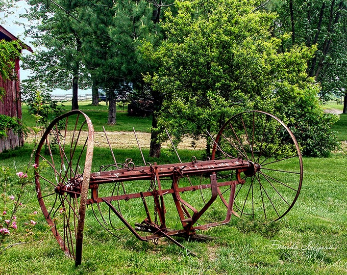 Farm Hay Rake by Brenda Salyers, Fine Art Giclee Print on Paper or Canvas, Custom or Framed Orders Welcome