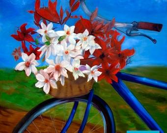 Bicycle Flower Basket Kentucky, Brenda Salyers Fine Art Giclee Print on Paper Canvas Wood by Brenda Salyers by Brenda Salyers