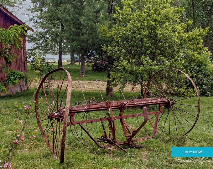 Farm Hay Rake by Brenda Salyers, Fine Art Giclee Print on Paper Canvas or Wood by Brenda Salyers by Brenda Salyers