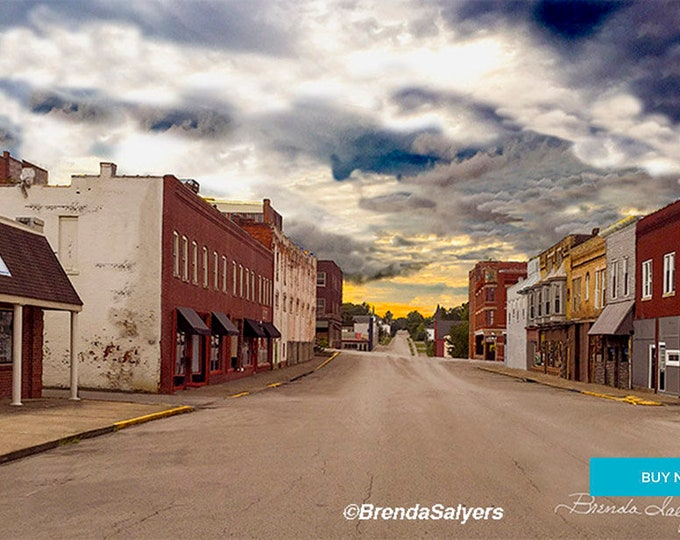 East Broadway Winchester Kentucky Giclee  Print on Fine Art Paper Canvas or Wood by Brenda Salyers by Brenda Salyers