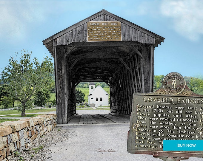 Goddard Covered Bridge Flemingsburg, Kentucky Giclee Print on Fine Art Paper Canvas or Wood by Brenda Salyers by Brenda Salyers