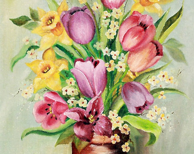 Daffodills & Tulips Giclee Print on Fine Art Paper Canvas or Wood by Brenda Salyers by Brenda Salyers