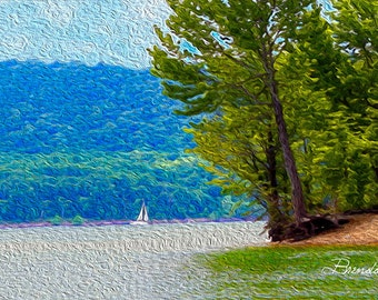Sailboat on Cave Run Lake Morehead,Kentucky Fine Art Print on Paper Canvas or Wood by Brenda Salyers by Brenda Salyers