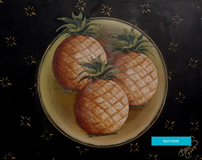Pineapples Giclee Print on Fine Art Paper Canvas or Wood by Brenda Salyers by Brenda Salyers