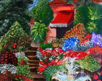 Hillside Garden Fine Art Giclee Print on Paper Canvas or Wood by Brenda Salyers by Brenda Salyers