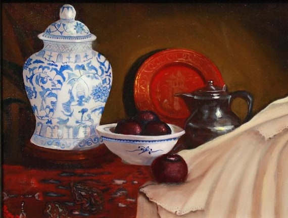 Still Life, Blue Vase Giclee Print on Fine Art Paper or Canvas