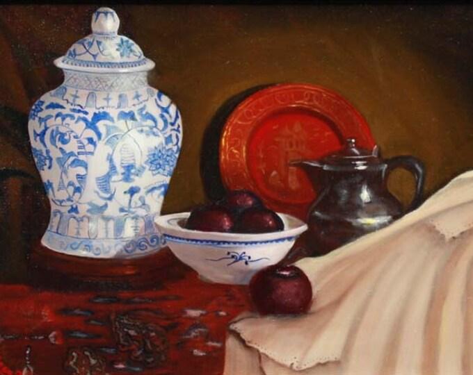 Blue Vase Giclee Print on Fine Art Paper Canvas or Wood by Brenda Salyers by Brenda Salyers