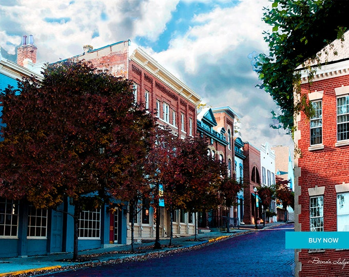 Court street Mt Sterling Giclee Print on Fine Art Paper Canvas or Wood by Brenda Salyers by Brenda Salyers