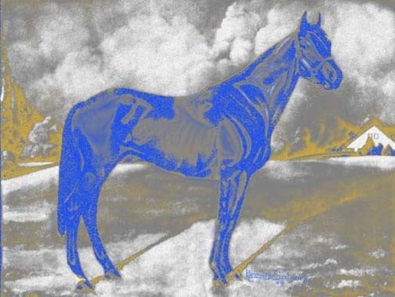 Man O War On the Farm Giclee Print on Fine Art Paper Canvas or Wood by Brenda Salyers by Brenda Salyers