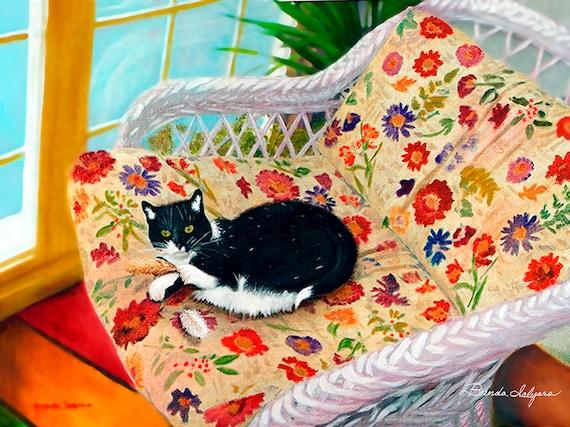"Tuxedo-Pattern Cat ""What Bird"" Fine Art Print on paper or canvas"