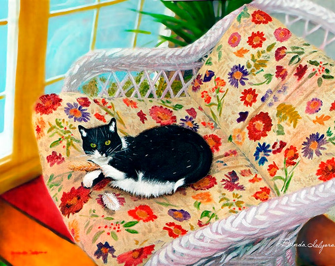 "Tuxedo-Cat ""Grace What Bird"" Fine Art Giclee Print on Paper Canvas or Wood by Brenda Salyers by Brenda Salyers"