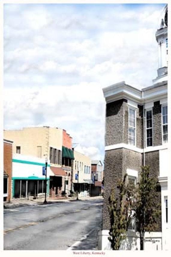 Kentucky, West Liberty, N Main Street, Giclee Print on Fine Art Paper or Canvas