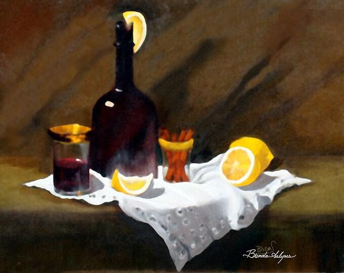 Wine in a Bottle Brenda Salyers Fine Art Giclee Print on Paper Canvas or Wood by Brenda Salyers by Brenda Salyers