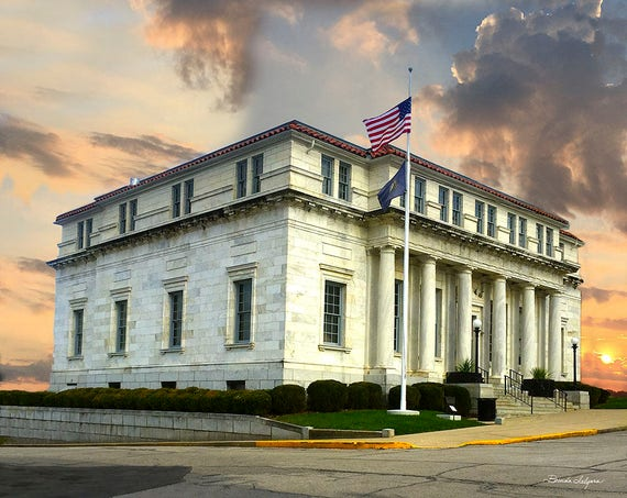 Clark County District Courthouse, Fine Art Giclee Print on Paper or Canvas, Ornaments Available in 4 Colors