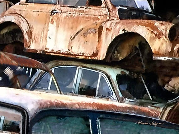 Old Cars in Junk Yard, Chevrolet, Ford, Dodge, Fine Art Giclee Print on Canvas Paper or Wood by artist Brenda Salyers by Brenda Salyers