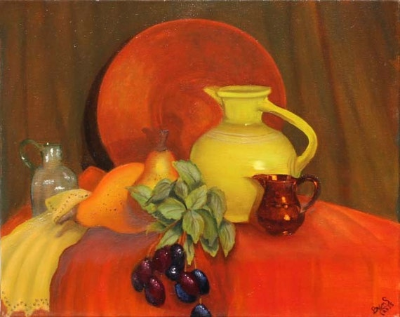 Green Pitcher. Giclee Print.Fine Art Paper,Print on Canvas, Kentucky, Oil on Canvas, Kitchen Artwork Canvas
