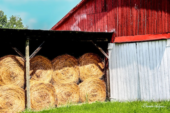 Kentucky, Barn with Hay Morehead, Fine Art Print on Paper or Canvas